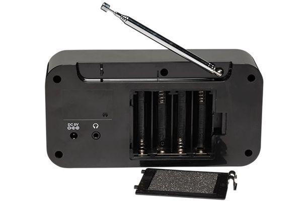 moderní radiopřijímač dab dab+ fm tuner 10 předvoleb digitální ladění dvojitý budík hodiny časovač lcd displej modré podsvícení reproduktor výkon 1 W teleskopická anténa výstup pro sluchátka síťové i bateriové napájení