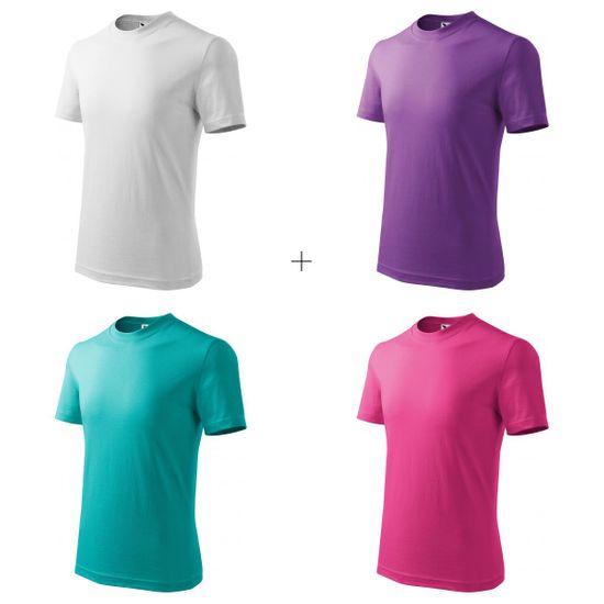 Malfini 4x Detské tričko jednoduché (Biele + Fialové + Smaragdovozelené + Malinové)