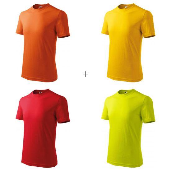 Malfini 4x Detské tričko jednoduché (Oranžové + Žlté + Červené + Limetkové)
