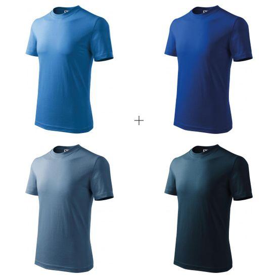 Malfini 4x Detské tričko jednoduché (Svetlomodré + Kráľovsky modré + Denim + Tmavomodré)