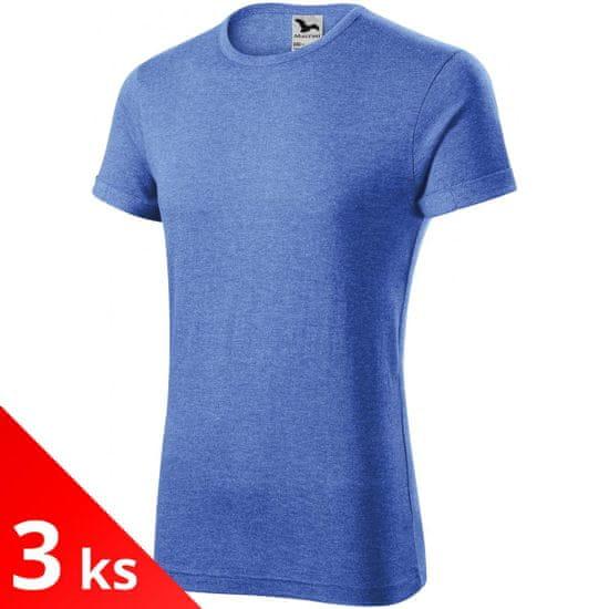Malfini 3x Modré melírové Pánske tričko s vyhrnutými rukávmi