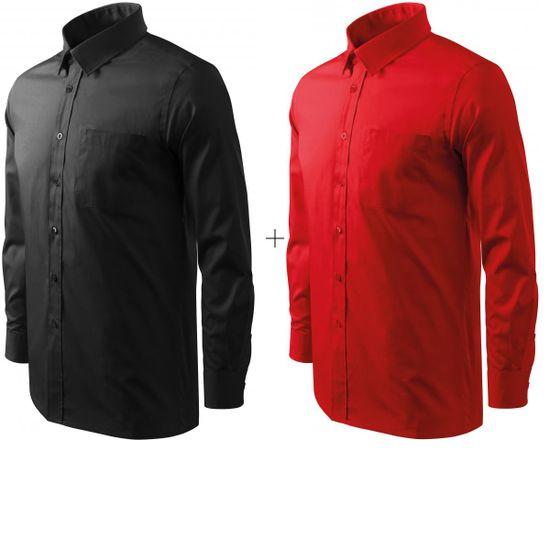 Malfini 2x Pánska košeľa s dlhým rukávom (Čierna + Červená)