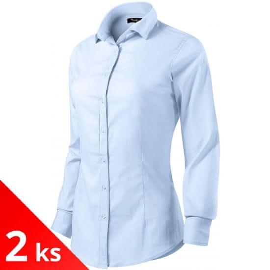 Malfini Premium 2x Svetlo modrá Dámska blúzka s dlhým rukávom Slim fit