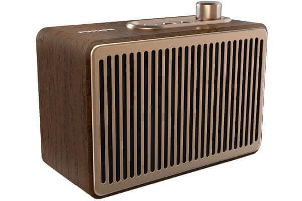 reproduktor přenosný philips tavs300 retro vintage bluetooht 4.2 10 m dosah signálu aux in vstup čistý zvuk bohatý na detaily hudební výkon 4 w zesílení basů tlačítkové ovládání li-pol baterie výdrž 10 h na nabití