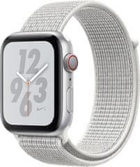 Apple Watch Series 4 Nike+ 44mm stříbrný hliník se sněhově bílým provlékacím sportovním řemínkem Nike