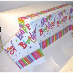 "Amscan Ubrus plastový ""Happy Birthday"", 137 x 259 cm"