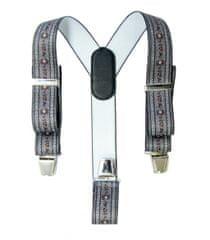 FREI Pánské kšandy se vzorem protěže alpské, kožený zádový díl s kovovou sponou, barva antracitová