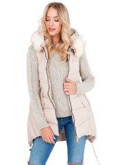 Gemini Prošívaná dámská vesta s kapucí a kožíškem BX4192 - Yups