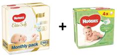 Huggies Elite Soft 2 Newborn (4-6 kg) 160 ks (2x80 ks) - Mesačné balenie