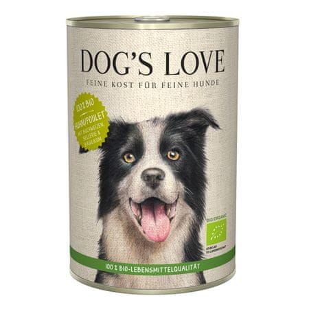 Dog's Love 100 % BIO Organic konzerva za pse, piščanec, 400 g