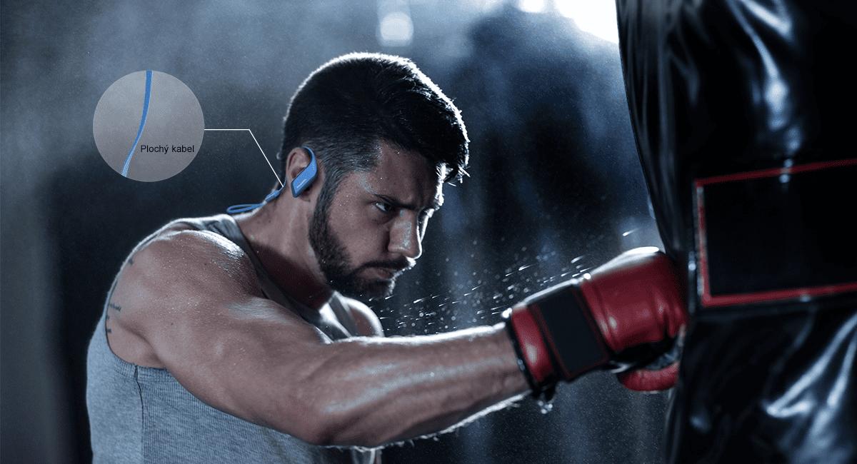 bezdrôtové Bluetooth slúchadlá Panasonic RP-BTS35E usadenie za ucho plochý kábel