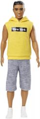 Mattel Barbie Model Ken 131 - žlutá mikina bez rukávu s kapucí