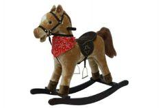 Teddies Kůň houpací hnědý plyš na baterie 71cm se zvukem a pohybem nosnost 50kg v krabici