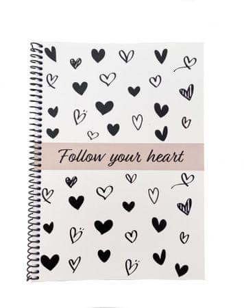 Muflon spiralna bilježnica Follow your heart, crna, A5
