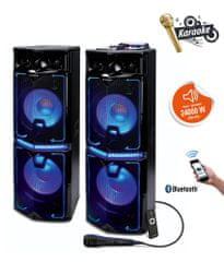 Manta SPK5034 disco/karaoke sistem, 2x zvočnik, 24000W P.M.P.O., Bluetooth, USB, SD, 2x Mic, AUX, Radio FM