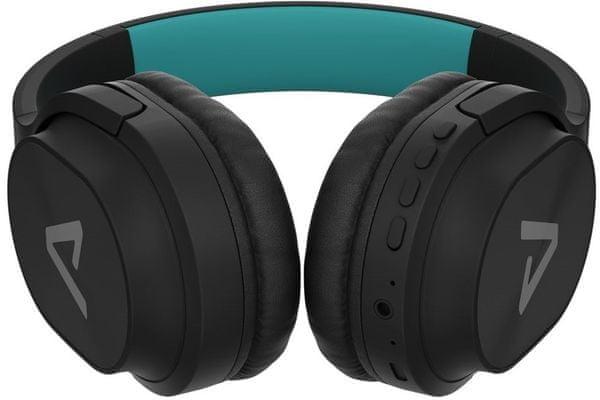 Moderne slušalke Lamax Base1 Bluetooth 4.2 10 m dosega reža za microSD kartico uravnotežen zvok 40 mm gonilniki kakovosten prostoročen mikrofon li-ion baterije 400 mAh čas delovanja 20 h na polnjenje zvočni kabel s 3,5 mm jack priključkom turkizno-črna barva lahka in trajna konstrukcijska udobno upravljanje na dotik ušesno konstrukcijo čez ušesa