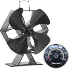 VonHaus ventilator za kamin, XL, crni aluminij (2500116)