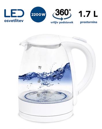 Platinet PEK760W grijač vode, 1,7 l, 2200 W, LED osvjetljenje, okretno postolje za 360°, bijela