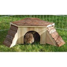 Kerbl přírodní domeček pro morčata s rampou - 37 x 35 x 15 cm