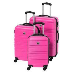 France Bag sada 3 pevných ABS kufrů s výškou 55, 65 a 70 cm růžová