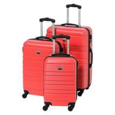 France Bag sada 3 pevných ABS kufrů s výškou 55, 65 a 70 cm červená