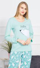 Stylomat Dámské pyžamo dlouhé Méďa Hello barva azurová