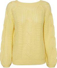Vero Moda Ženski pulover VMALLIE LS V-BACK CABLE BLOUSE BOO Pale Banana