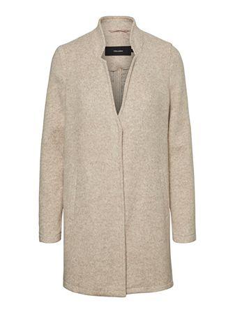 Vero Moda Damski płaszcz VMBRUSHEDKATRINE 3/4 JACKET BOOS Silver Mink MELANGE (Wielkość XS)