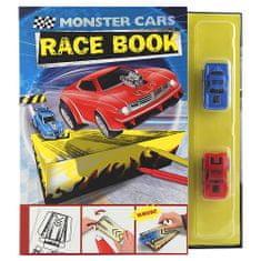 Monster Cars Papierová skladačka Monster Cars, Pretekárska kniha, červená a modré autíčko