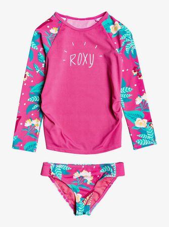 Roxy dekliški komplet majice in kopalk lycra Magical Sea, 2, roza