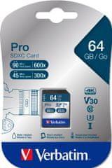 Verbatim Pro SDXC 64GB UHS-I V30 U3 (47022)