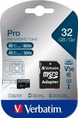 Verbatim Pro microSDHC 32GB UHS-I V30 U3 + SD adapter (47041)