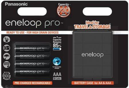 PANASONIC BK-4HCDEC4BE Eneloop Pro AAA 930mAh 4db + CASE 4HCDEC / 4BE