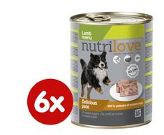 Nutrilove Mokra pseća hrana - pašteta - janjetina, 6x800g