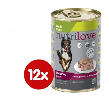 Nutrilove hrana za odrasle pse Lamb Menu, pašteta z jagnjetino, 12 x 400 g