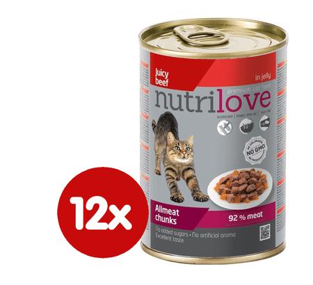 Nutrilove mokra mačja hrana, govedina 12x400 g