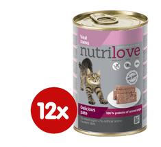 Nutrilove mokra mačja hrana, pašteta - teletina 12 x 400g