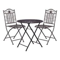 Butlers Balkonový set 2 ks židle a 1 ks stůl - tm. hnědá