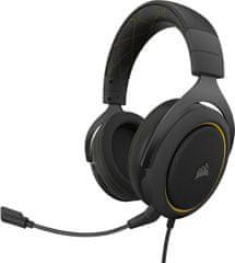Corsair słuchawki gamingowe HS60 Pro Surround, żółte (CA-9011214-EU)