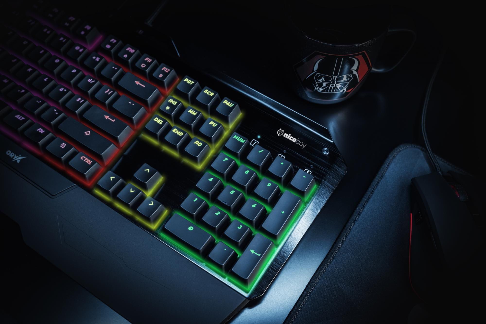 Niceboy ORYX K300X, CZ (Oryx-k-600) mechanická herná klávesnica RGB podsvietenie drôtová kovová konštrukcia membrána odlnosť proti nečistotám