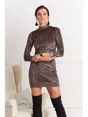 Amando Elegantné vzorované šaty 0422 čierno-zlaté