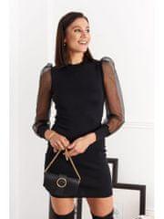 Amando Priliehavé šaty s tylovými rukávmi 19820 čierne