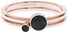 Gravelli Sada oceľových prsteňov s betónom Double Dot bronzová / čierna GJRWRGA108