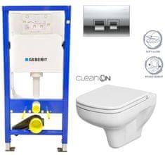 Geberit SET Duofix Sada pro závěsné WC 458.103.00.1 + tlačítko DELTA50 CHROM + WC CERSANIT COLOUR CLEANON + SEDÁTKO (458.103.00.1 50CR CN1)