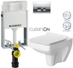 Geberit SET KOMBIFIXBasic včetně ovládacího tlačítka DELTA 50 CR pro závěsné WC CERSANIT CLEANON SPLENDOUR + SEDÁTKO (110.100.00.1 50CR SP1)