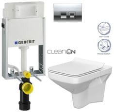 Geberit SET KOMBIFIXBasic včetně ovládacího tlačítka DELTA 50 CR pro závěsné WC CERSANIT CLEANON COMO + SEDÁTKO (110.100.00.1 50CR CO1)