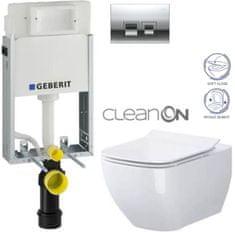 Geberit SET KOMBIFIXBasic včetně ovládacího tlačítka DELTA 50 CR pro závěsné WC OPOCZNO CLEANON METROPOLITAN + SEDÁTKO (110.100.00.1 50CR ME1)