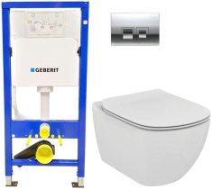 Geberit SET Duofix Sada pro závěsné WC 458.103.00.1 + tlačítko DELTA50 CHROM + WC TESI (458.103.00.1 50CR TE3)