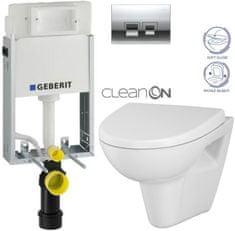 Geberit SET KOMBIFIXBasic včetně ovládacího tlačítka DELTA 50 CR pro závěsné WC CERSANIT CLEANON PARVA + SEDÁTKO (110.100.00.1 50CR PA1)