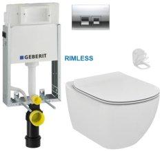 Geberit SET KOMBIFIXBasic včetně ovládacího tlačítka DELTA 50 CR pro závěsné WC TESI RIMLESS (110.100.00.1 50CR TE2)